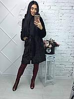 """Женская черно-коричневая шуба из искусственного меха под """"Норку"""" с капюшоном (42-48 р) 22П10211"""