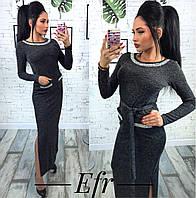 Теплое платье с отделкой камнями 4 цвета ефр233