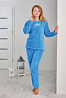 Плюшевая теплая женская пижама р46 48 50 малиновая Regina 813 Польша