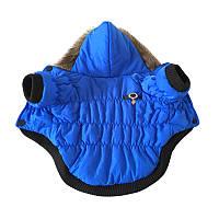 Курточка для собаки с капюшоном-Синяя