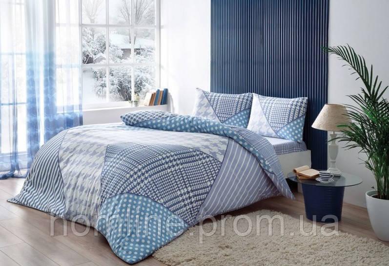 Постельное белье Тас Flanel Mila голубое евро размер