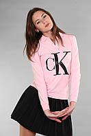 Женская футболка поло с длинным рукавом с воротником CK розового цвета