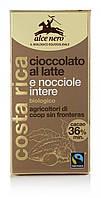 Органический молочный шоколад (36%) с лесными орехами, Alce Nero, 100 гр