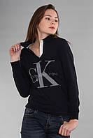 Синяя женская футболка поло с длинным рукавом с воротником CK