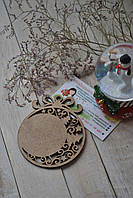 Деревянная заготовка для декупажа или росписи. Шар с елочками и узором