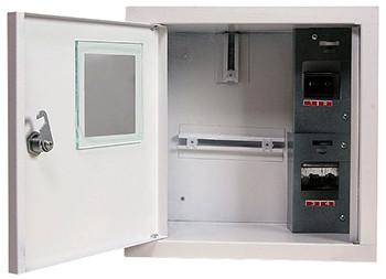Шкаф распределительный e.mbox.stand.w.f1.04.z.e под однофазный электронный счетчик+ 4 мод. встраиваемый с замк