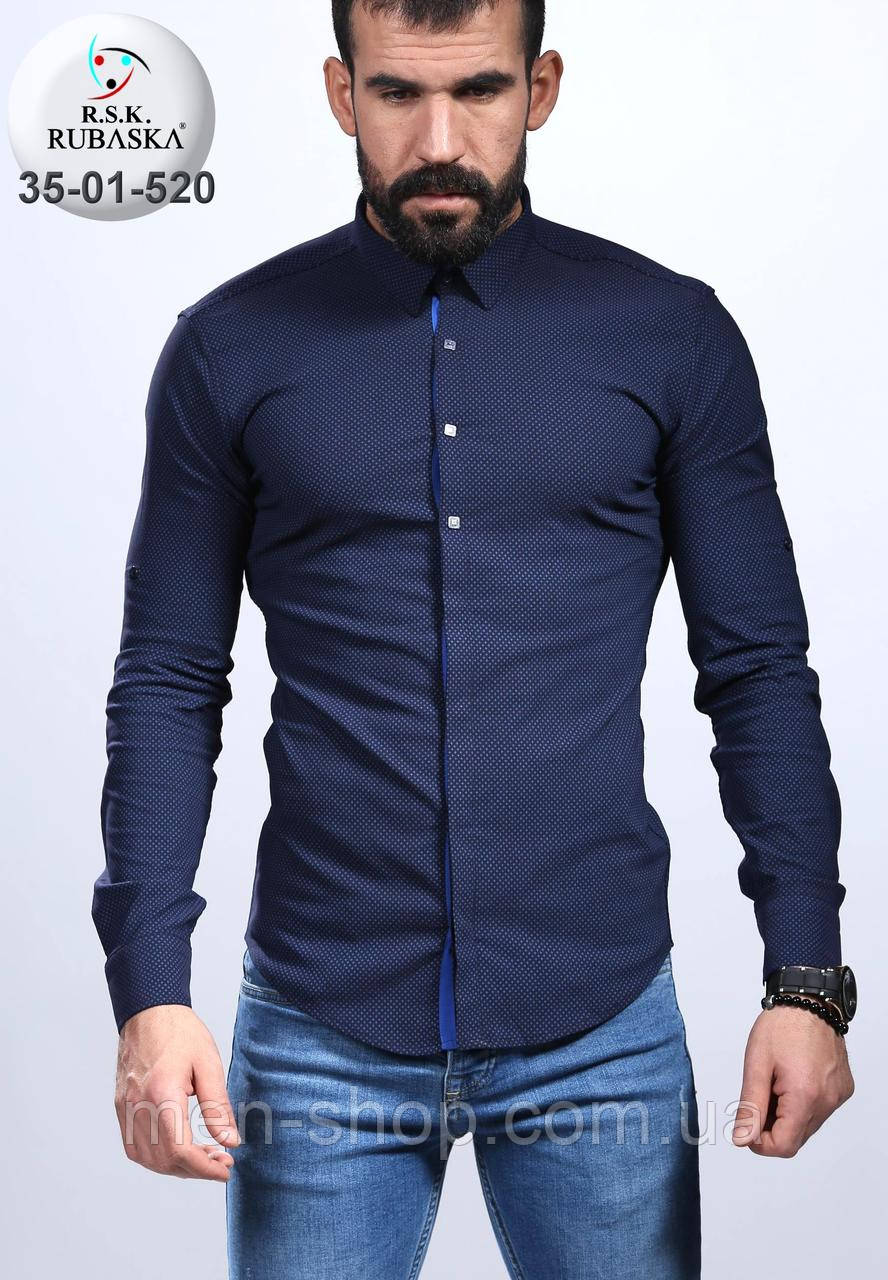 00d4b418cee Темно-синяя мужская рубашка - Men-Shop в Харькове