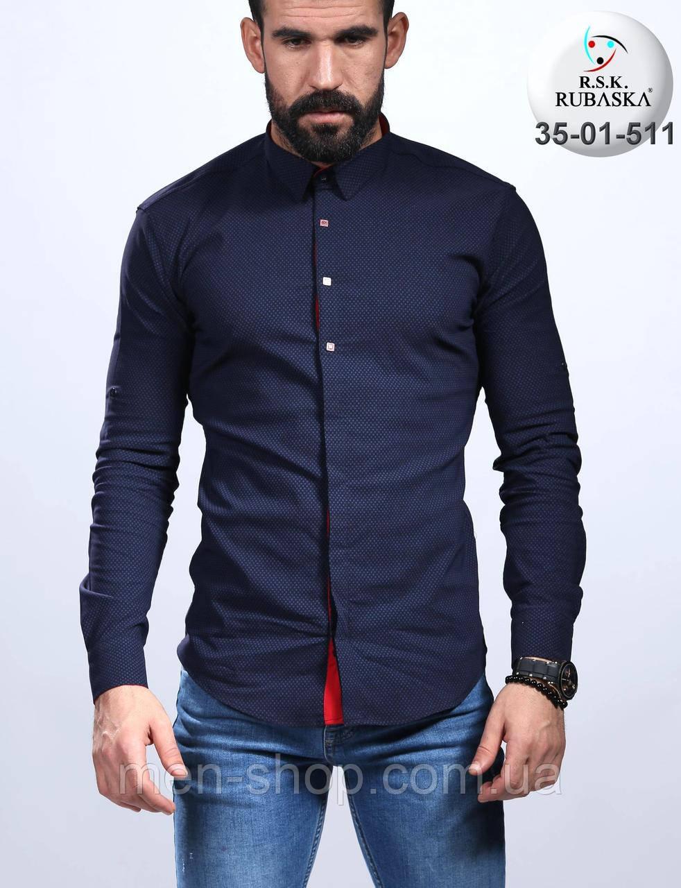 2f4a76e7143 Темно-синяя мужская рубашка с красными манжетами  продажа