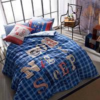 Постельное белье Tac Teen Ranforce Good Night синее 160*220 подростковое