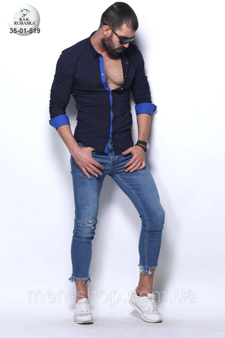 Темно-синяя мужская рубашка