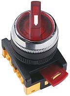 Перемикач ІЕК ANC-22-2 на 2 фікс. полож. червоний неон/240В І-О