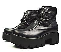 Черные зимние женские кожаные ботинки WRIGHT на тракторной подошве и на меху (шерсть), фото 1