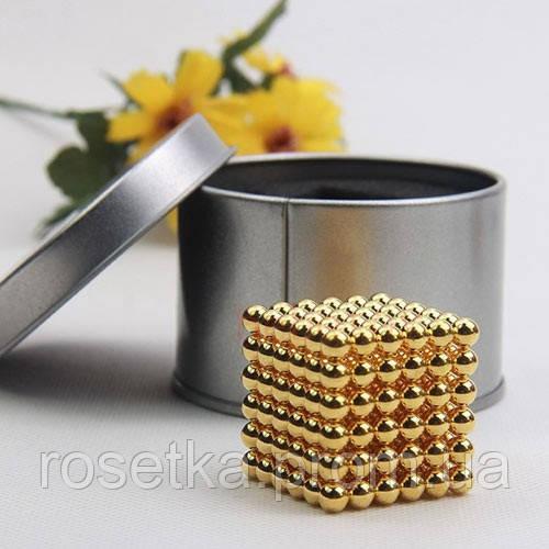 Іграшка магнітна для дітей та дорослих Неокуб Gold, золотий Neoсube 216 шт., 5 мм.