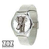 """Часы наручные """"Слон"""", браслет из нержавеющей стали, металлик"""