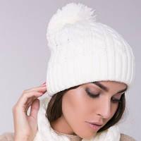 Белая женская шапка двойная косы с бубоном
