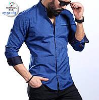 Стильная мужская синяя рубашка приталенная , фото 1