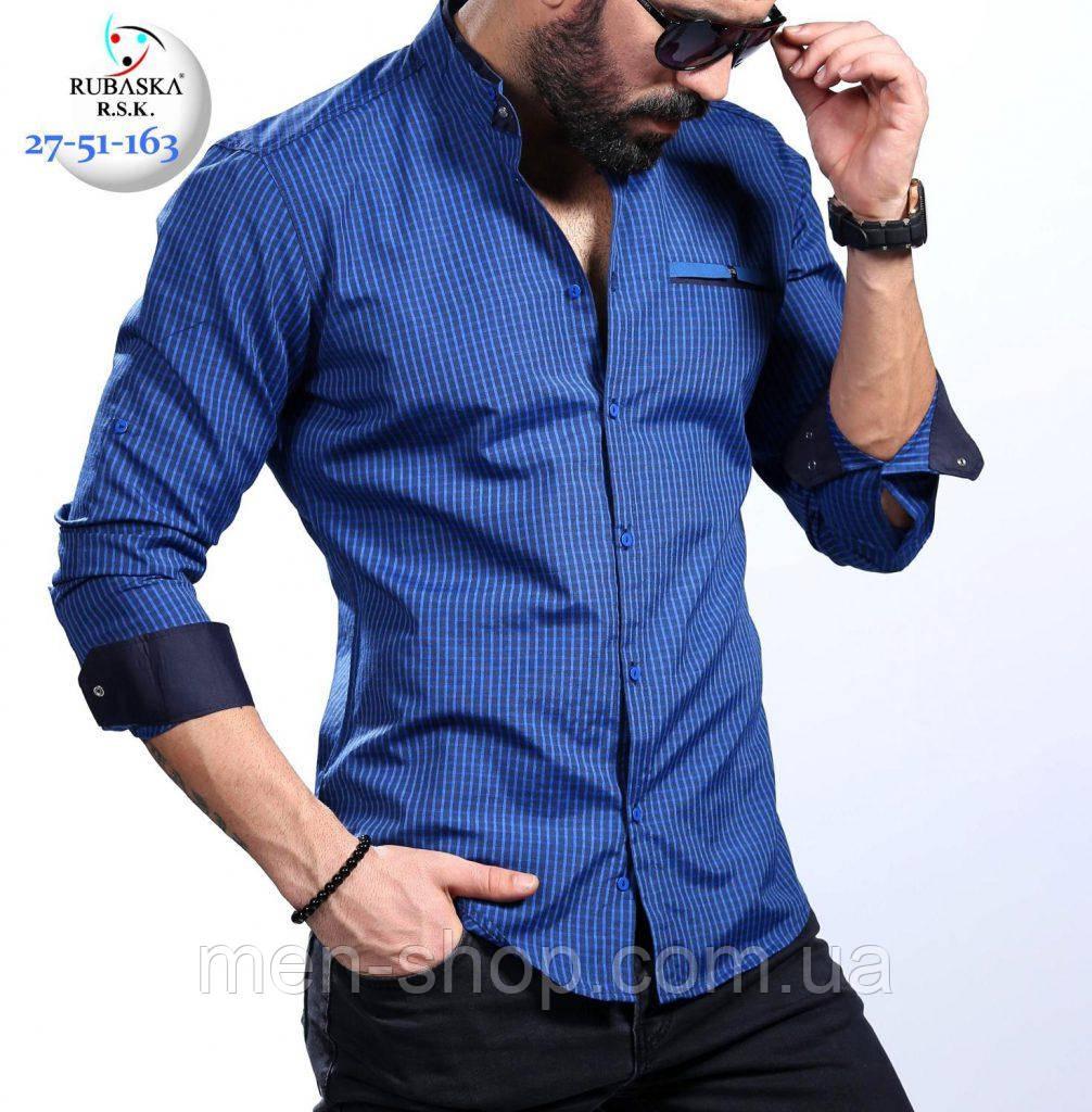 8e615b9dddf Стильная мужская синяя рубашка приталенная - Men-Shop в Харькове