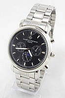 Мужские наручные часы Vacheron Constantin (черный циферблат, серебристый ремешок) (Копия), фото 1