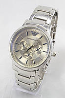 Мужские наручные часы Emporio Armani (серебристый циферблат, серебристый ремешок) (Копия)