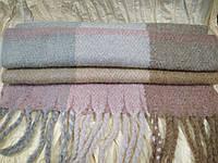 Большой тёплый шарф из шерсти ламы в клетку 2.1м на 57см