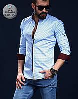 Классическая мужская рубашка с коричневыми манжетами