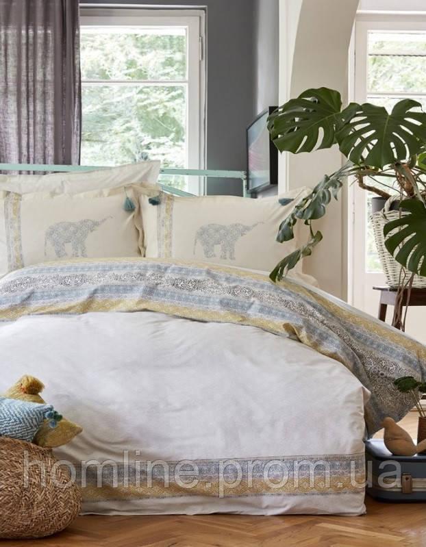 Постельное белье Karaca Home ранфорс Espilo голубое евро размер