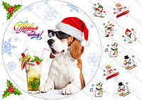 Печать вафельных картинок - Новый год Ø21см - Собачка №5