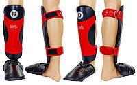 Защита для голени и стопы Муай Тай, ММА, Кикбоксинг кожаная RIVAL MA-6005-L (р-р L, черно-красный)