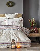 Постельное белье Karaca Home ранфорс Espilo бордовое евро размер