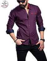 Стильная фиолетовая мужская рубашка приталенная