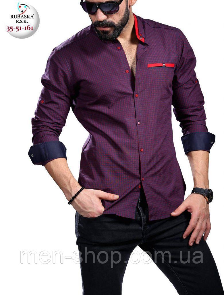 13d67f1c53e Стильная фиолетовая мужская рубашка приталенная - Men-Shop в Харькове