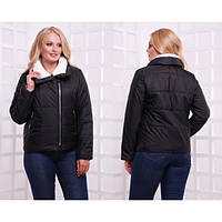 Черная женская куртка плащевка Аляска Батал
