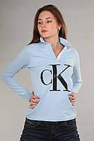 Модная женская футболка поло с длинным рукавом с воротником CK голубого цвета