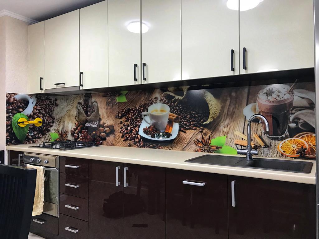 фартук из стекла на кухню с рисунком