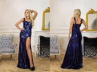 Вечернее длинное платье в пайетку и разрезом сбоку 14133PL