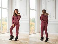 Женский теплый костюм с кофтой на молнии и мехом на капюшоне 14148SP