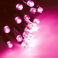 Нить 10м Розовая Светодиодная, 100 LED, уличная гирлянда на черном каучуковом проводе