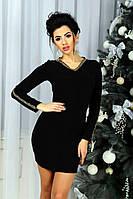 Платье женское по фигуре ,Материал: ангора,Отделка-золотая чешуя. цвет черный фото реал зп №567