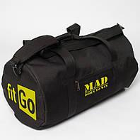 "Спортивная сумка  ""FITGO"" черная (тубус,цилиндр)"