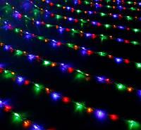Нить 15м Разноцветная Светодиодная, 180 LED, уличная гирлянда на черном каучуковом проводе