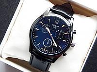 Мужские наручные часы Tissot, черного цвета на черном кожаном ремешке, с датой