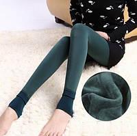 Леггинсы лосины гамаши теплые на меху Fur с носочком темно-зеленые