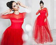 Вечернее женское платье красное с фатином (3 цвета) ТК/-01136