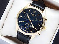Мужские наручные часы Tissot, золотистого цвета на черном кожаном ремешке, с датой, фото 1