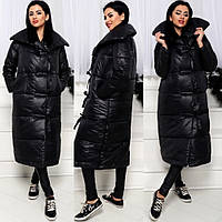 Пальто пуховик женский зимний длинный Мадлен (холлофайбер)