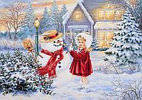 Печать вафельных картинок - Новый год А4 - Снеговик и Девочка