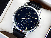Мужские наручные часы Rolex, серебристого цвета на черном кожаном ремешке, с датой