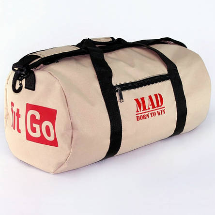"Спортивная сумка  ""FITGO"" бежевая (тубус,цилиндр), фото 2"