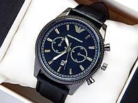 Мужские наручные часы Emporio Armani, черного цвета на черном кожаном ремешке, с датой