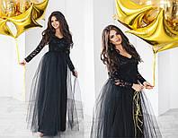 Вечернее платье женское в пол чёрное (4 цвета) ТК/-02084, фото 1